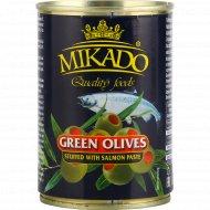 Оливки зелёные «Mikado» фаршированные лососем, 300 г.