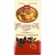 Шоколад горький десертный с начинкой «Беловежская пуща», 100 г.