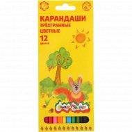 Набор цветных карандашей «Каляка-Маляка» трёхгранных, 12 цветов.
