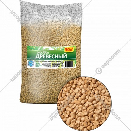 Наполнитель для кошачьего туалета «Bioclean» древесный, 30 л.