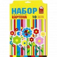 Картон цветной «Цветы» 10 листов.
