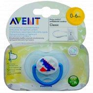 Пустышка силиконовая «Philips Avent» 0-6 месяцев, для мальчика.