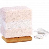 Соляная лампа из смеси «Каменной соли» на деревянной подставке, 4 кг.