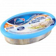 Филе-кусочки сельди «Leor» в масле, 300 г., фасовка 0.4-0.5 кг
