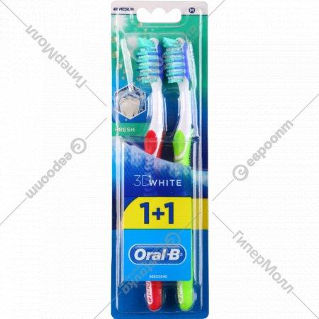 Зубная щетка «Oral-B» 3D White, свежесть, средняя жесткость, 1+1 шт.