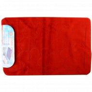 Набор ковриков для ванной комнаты «Эко» 60x90, 60x50 см, бордовый.
