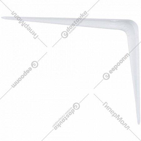 Кронштейн угловой с ребром, 200х250 мм, белый.