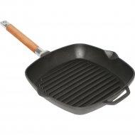 Сковорода-гриль чугунная со съёмной ручкой без крышки, 26x26 см.
