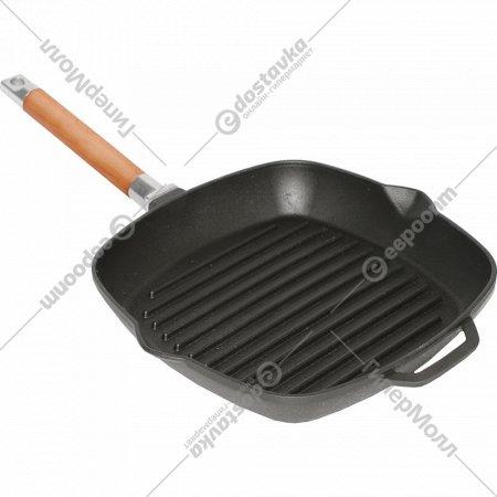 Сковорода-гриль чугунная со съёмной ручкой, 28*28 см.