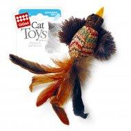Игрушка «Птичка» с перьями и погремушкой, плюш, 10 см.