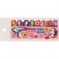 Клейкие листики-индексы «Unicorns» бумажные, 15 листов