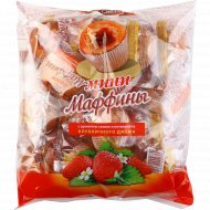Мини-маффины с ароматом сливок и начинкой из клубничного джема, 465 г.