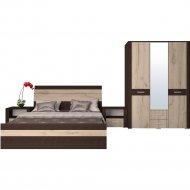 Комплект мебели для спальни «Интерлиния» Коламбия-4, дуб венге/дуб серый