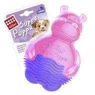Игрушка для собак «Бегемотик» с пищалкой, розовый, 10 см.