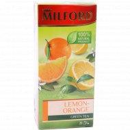 Чай зеленый «Milford» лимон-апельсин, 20 пакетиков.