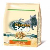 Корм для кошек «Gusto» со вкусом говядины, курицы, овощей, 1.5 кг.
