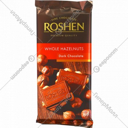 Черный шоколад «Roshen» экстрачерный с целыми лесными орехами, 90 г.