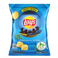 Чипсы «Lay's» со вкусом сметаны и зелени, 225 г.