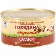 Консервы мясные «ОМКК» говядина обеденная, 325 г.