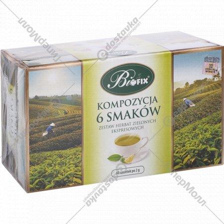 Чай зеленый «Bifix» композиция из 6 вкусов, 60х2 г