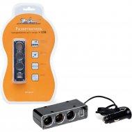 Прикуриватель-разветвитель на 3 гнезда + USB «Airline» ASP-3U-07.