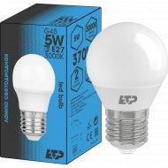 Светодиодная лампа G45, 5W, E27, 3000K.