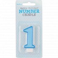 Свеча-цифра «1», голубая, 1 шт.