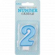Свеча-цифра «2», голубая, 1 шт.