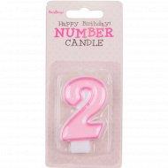 Свеча-цифра «2», розовая, 1 шт.