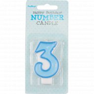 Свеча-цифра «3», голубая, 1 шт.