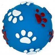 Игрушка «Мяч с рисунком лапки и косточки с пищалкой» 8 см.