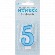 Свеча-цифра «5», голубая, 1 шт.