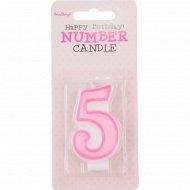 Свеча-цифра «5», розовая, 1 шт.