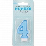 Свеча-цифра «4», голубая, 1 шт.