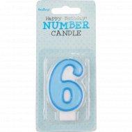 Свеча-цифра «6», голубая, 1 шт.