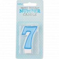 Свеча-цифра «7», голубая, 1 шт.