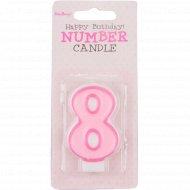 Свеча-цифра «8», розовая, 1 шт.