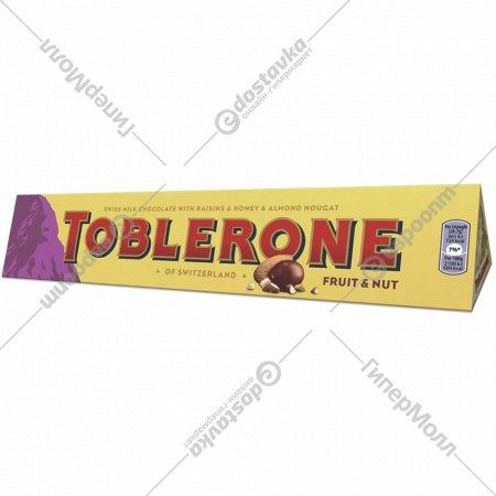 Шоколад «Toblerone» молочный с изюмом, орехами и медовой нугой, 100 г.