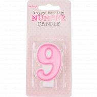 Свеча-цифра «9», розовая, 1 шт.