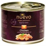 Консервы для котят «Nuevo» с курицей, рисом и лососевым жиром, 200 г.
