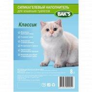 Силикагелевый наполнитель «Bak's» для кошачьих туалетов, 8 л, 3.2 кг.