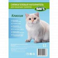 Силикагелевый наполнитель «Bak's» для кошачьих туалетов, классик, 12 л. 4.8 кг.