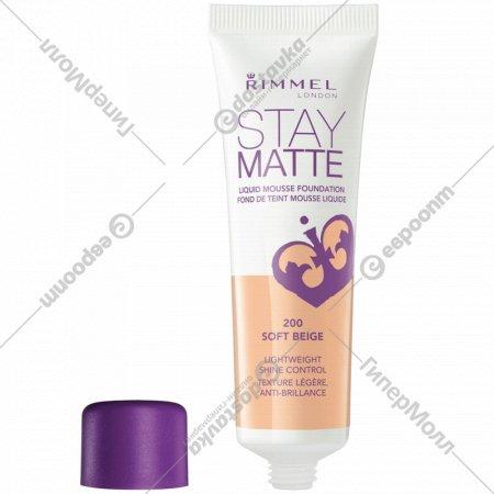 Тональный крем Rimmel «Stay Matte», 200 Soft Beige, 30 мл.