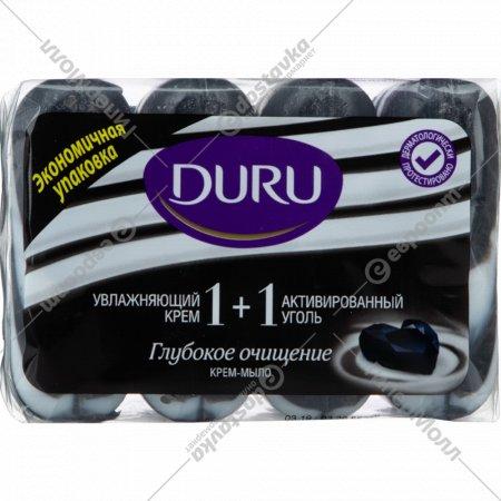 Крем-мыло «Duru» увлажняющий крем и активированный уголь, 4х90 г.