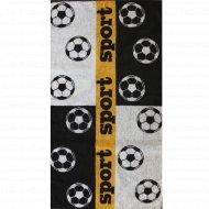 Полотенце махровое «Футбол» черное, 50х90 см.