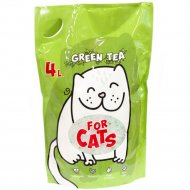 Силикагелевый наполнитель «For Cats» с ароматом зеленого чая, 4 л.