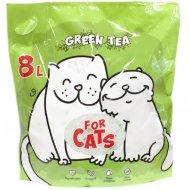 Силикагелевый наполнитель «For Cats» с ароматом зеленого чая, 8 л.