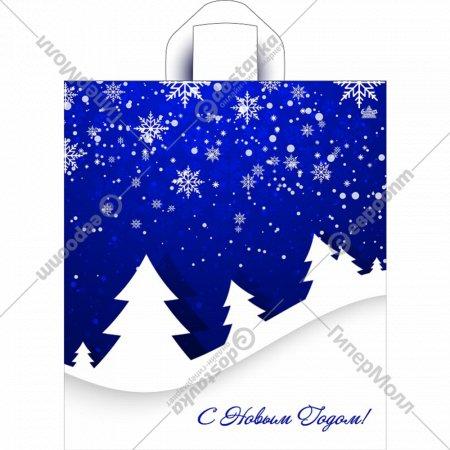 Мешок с ручками «Снежные елки на синем» 43,5х38 см.