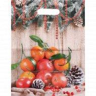 Мешок полиэтиленовый «Композиция с мандаринами» 40х31 см.