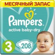 Подгузники «Pampers» Active Baby Dry, 6-10 кг, размер 3, 208 шт.